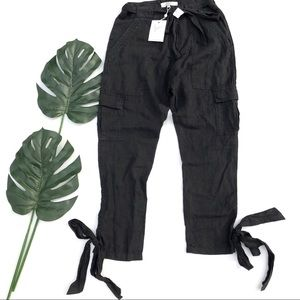 Joie Erlette linen cargo cropped pant with ties 2